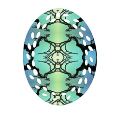 Branches With Diffuse Colour Background Oval Filigree Ornament (two Sides)