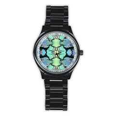 Branches With Diffuse Colour Background Stainless Steel Round Watch