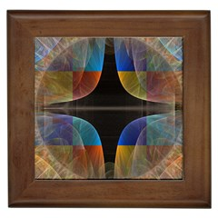 Black Cross With Color Map Fractal Image Of Black Cross With Color Map Framed Tiles