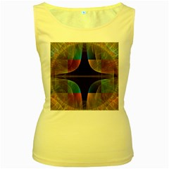 Black Cross With Color Map Fractal Image Of Black Cross With Color Map Women s Yellow Tank Top