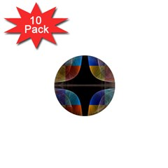 Black Cross With Color Map Fractal Image Of Black Cross With Color Map 1  Mini Magnet (10 pack)