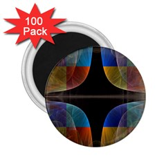 Black Cross With Color Map Fractal Image Of Black Cross With Color Map 2 25  Magnets (100 Pack)