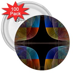 Black Cross With Color Map Fractal Image Of Black Cross With Color Map 3  Buttons (100 pack)