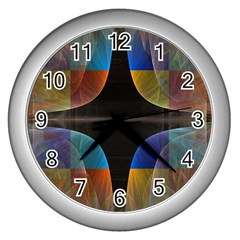 Black Cross With Color Map Fractal Image Of Black Cross With Color Map Wall Clocks (Silver)