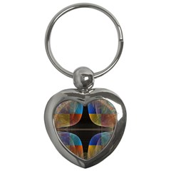 Black Cross With Color Map Fractal Image Of Black Cross With Color Map Key Chains (Heart)