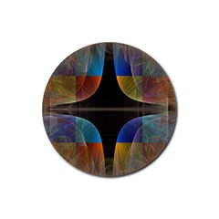 Black Cross With Color Map Fractal Image Of Black Cross With Color Map Rubber Coaster (Round)