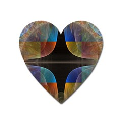 Black Cross With Color Map Fractal Image Of Black Cross With Color Map Heart Magnet