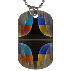 Black Cross With Color Map Fractal Image Of Black Cross With Color Map Dog Tag (two Sides)