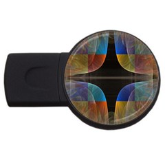 Black Cross With Color Map Fractal Image Of Black Cross With Color Map USB Flash Drive Round (1 GB)