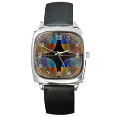 Black Cross With Color Map Fractal Image Of Black Cross With Color Map Square Metal Watch