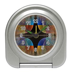 Black Cross With Color Map Fractal Image Of Black Cross With Color Map Travel Alarm Clocks