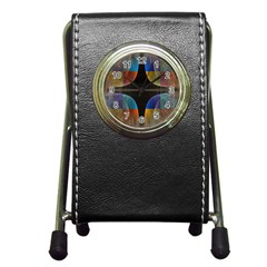 Black Cross With Color Map Fractal Image Of Black Cross With Color Map Pen Holder Desk Clocks