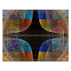 Black Cross With Color Map Fractal Image Of Black Cross With Color Map Rectangular Jigsaw Puzzl