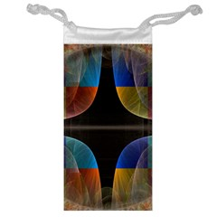 Black Cross With Color Map Fractal Image Of Black Cross With Color Map Jewelry Bag
