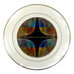 Black Cross With Color Map Fractal Image Of Black Cross With Color Map Porcelain Plates