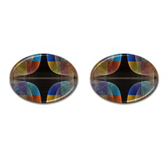 Black Cross With Color Map Fractal Image Of Black Cross With Color Map Cufflinks (Oval)