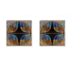 Black Cross With Color Map Fractal Image Of Black Cross With Color Map Cufflinks (square)