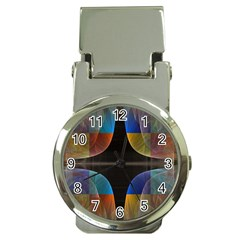 Black Cross With Color Map Fractal Image Of Black Cross With Color Map Money Clip Watches