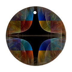 Black Cross With Color Map Fractal Image Of Black Cross With Color Map Round Ornament (Two Sides)