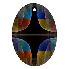 Black Cross With Color Map Fractal Image Of Black Cross With Color Map Oval Ornament (Two Sides)
