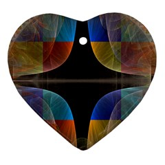 Black Cross With Color Map Fractal Image Of Black Cross With Color Map Heart Ornament (Two Sides)