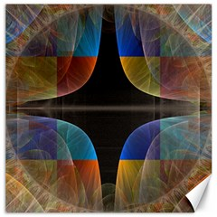 Black Cross With Color Map Fractal Image Of Black Cross With Color Map Canvas 12  x 12