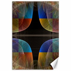 Black Cross With Color Map Fractal Image Of Black Cross With Color Map Canvas 12  X 18