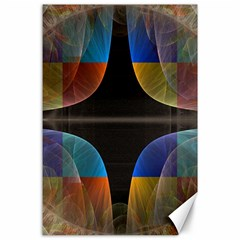 Black Cross With Color Map Fractal Image Of Black Cross With Color Map Canvas 24  x 36
