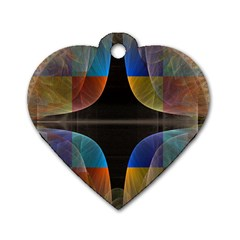 Black Cross With Color Map Fractal Image Of Black Cross With Color Map Dog Tag Heart (two Sides)