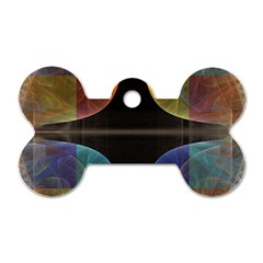 Black Cross With Color Map Fractal Image Of Black Cross With Color Map Dog Tag Bone (One Side)