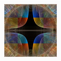 Black Cross With Color Map Fractal Image Of Black Cross With Color Map Medium Glasses Cloth (2 Side)