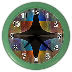 Black Cross With Color Map Fractal Image Of Black Cross With Color Map Color Wall Clocks