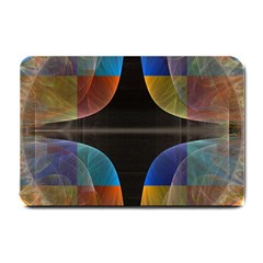 Black Cross With Color Map Fractal Image Of Black Cross With Color Map Small Doormat