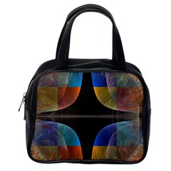 Black Cross With Color Map Fractal Image Of Black Cross With Color Map Classic Handbags (one Side)