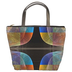 Black Cross With Color Map Fractal Image Of Black Cross With Color Map Bucket Bags