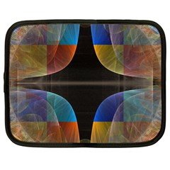 Black Cross With Color Map Fractal Image Of Black Cross With Color Map Netbook Case (XL)