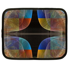 Black Cross With Color Map Fractal Image Of Black Cross With Color Map Netbook Case (XXL)