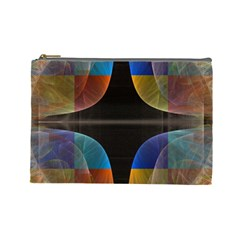 Black Cross With Color Map Fractal Image Of Black Cross With Color Map Cosmetic Bag (Large)