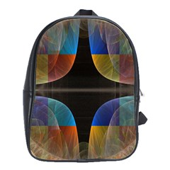 Black Cross With Color Map Fractal Image Of Black Cross With Color Map School Bags(Large)