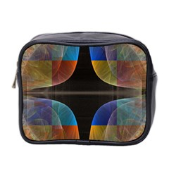 Black Cross With Color Map Fractal Image Of Black Cross With Color Map Mini Toiletries Bag 2-Side