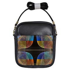 Black Cross With Color Map Fractal Image Of Black Cross With Color Map Girls Sling Bags
