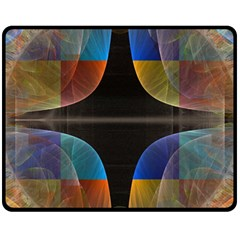 Black Cross With Color Map Fractal Image Of Black Cross With Color Map Fleece Blanket (Medium)