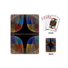 Black Cross With Color Map Fractal Image Of Black Cross With Color Map Playing Cards (mini)