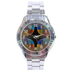 Black Cross With Color Map Fractal Image Of Black Cross With Color Map Stainless Steel Analogue Watch