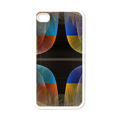 Black Cross With Color Map Fractal Image Of Black Cross With Color Map Apple iPhone 4 Case (White)