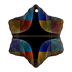 Black Cross With Color Map Fractal Image Of Black Cross With Color Map Snowflake Ornament (Two Sides)