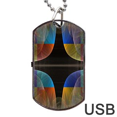 Black Cross With Color Map Fractal Image Of Black Cross With Color Map Dog Tag USB Flash (One Side)