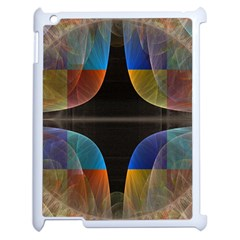 Black Cross With Color Map Fractal Image Of Black Cross With Color Map Apple iPad 2 Case (White)