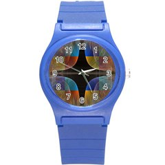 Black Cross With Color Map Fractal Image Of Black Cross With Color Map Round Plastic Sport Watch (S)