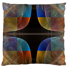 Black Cross With Color Map Fractal Image Of Black Cross With Color Map Large Cushion Case (Two Sides)